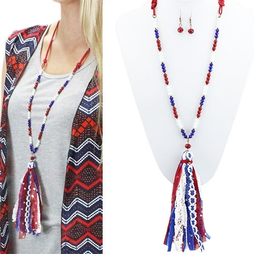Red White And Blue Tassel Necklace