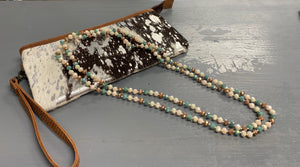 Turquoise/bronze beaded necklace