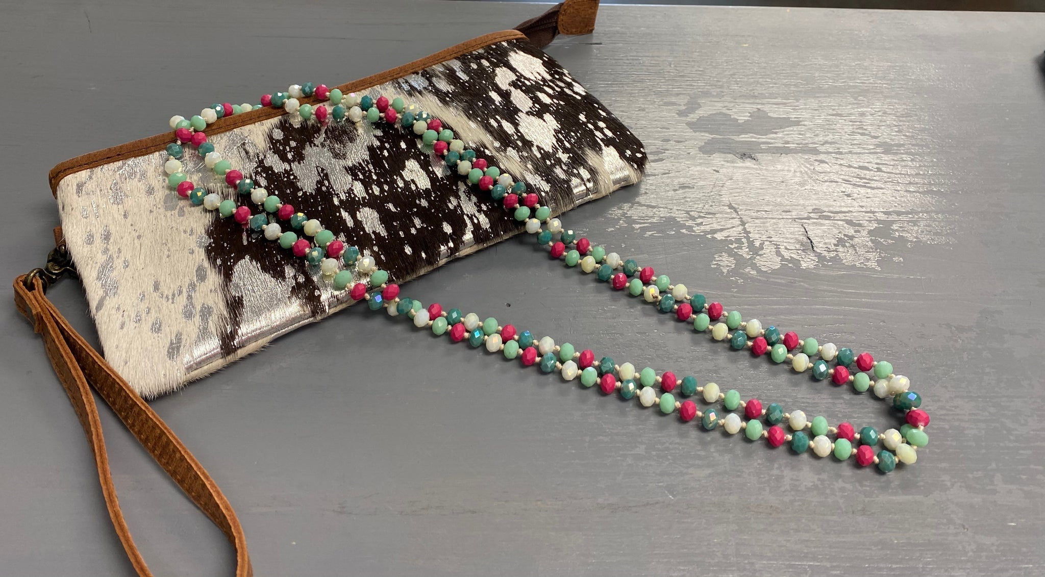 Pink/Mint Bead Necklace