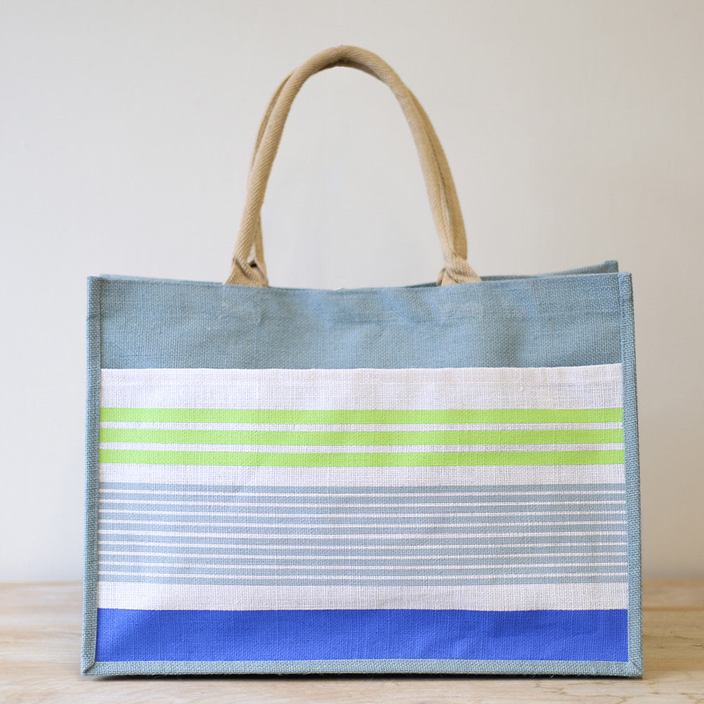 Tradewinds blue, lime green and royal blue Jute Bag