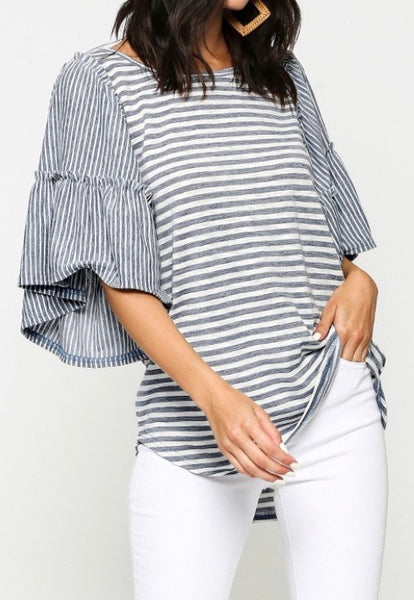 Denim Stripe Ruffles Sleeve Top