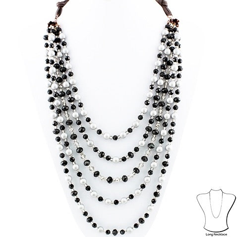 Black Beaded Layered Necklace