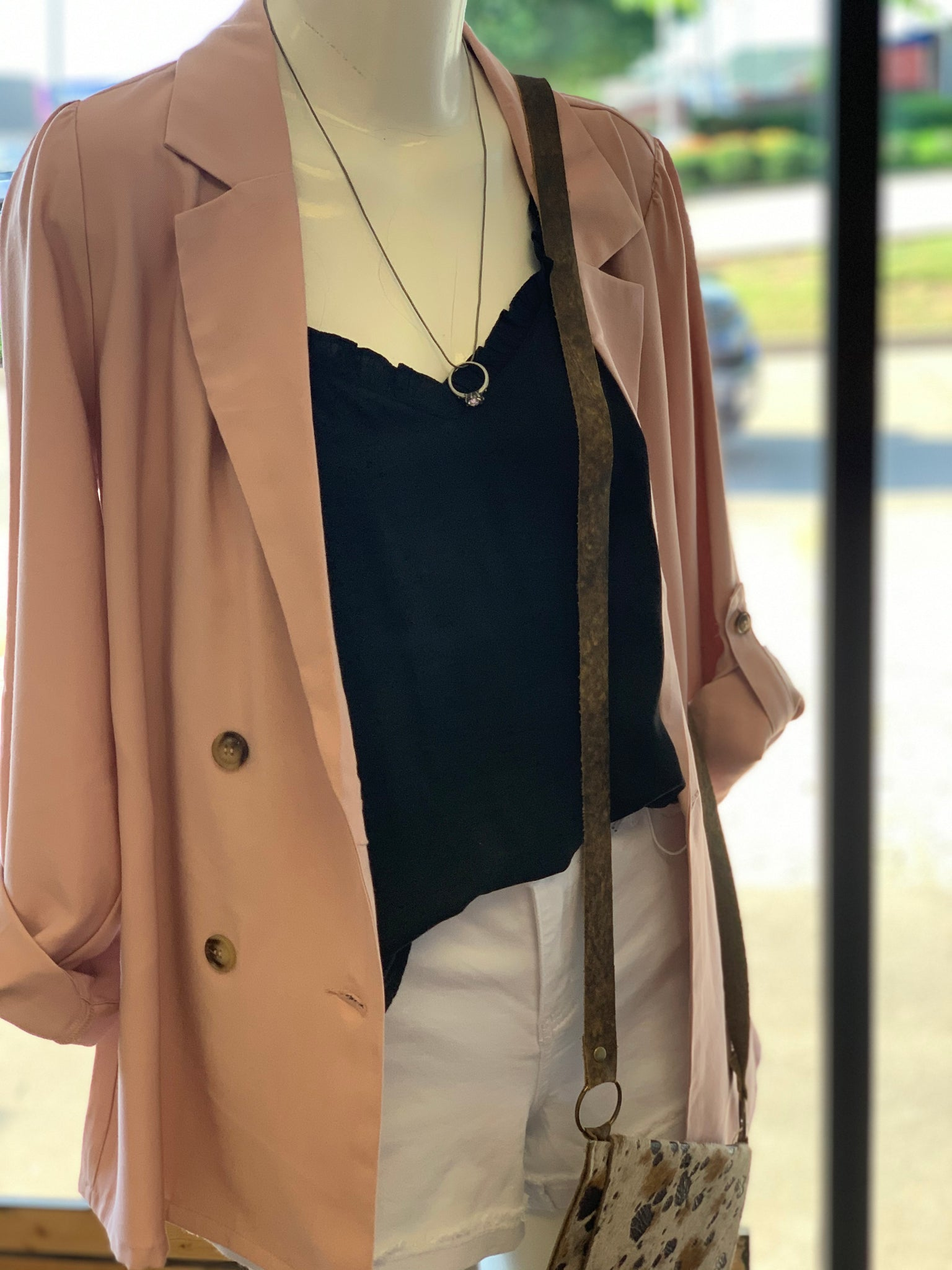 Blush Double Breasted Blazer