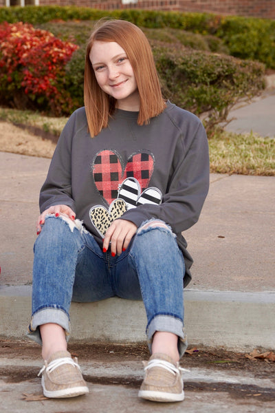 Buffalo, Stripe, and Leopard Heart Pullover
