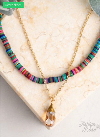 Drop of Summer Beaded Necklace with Teardrop Jewel