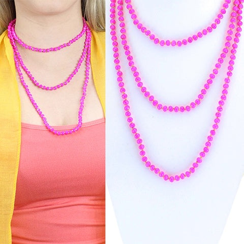 "Small 60"" Fuschia Beaded Necklace"