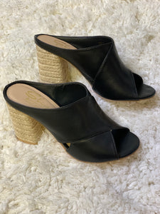 SALE Black Criss Cross Slip On Heel