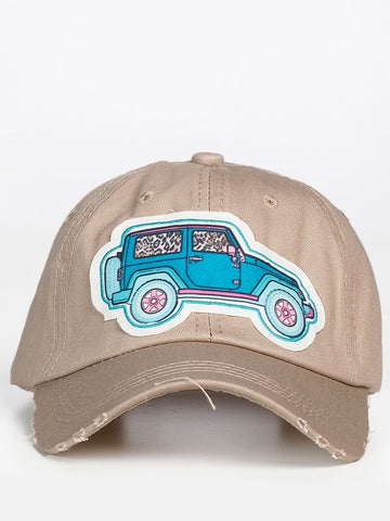 The Turquoise Jeep Patch on Beige Distressed Hat
