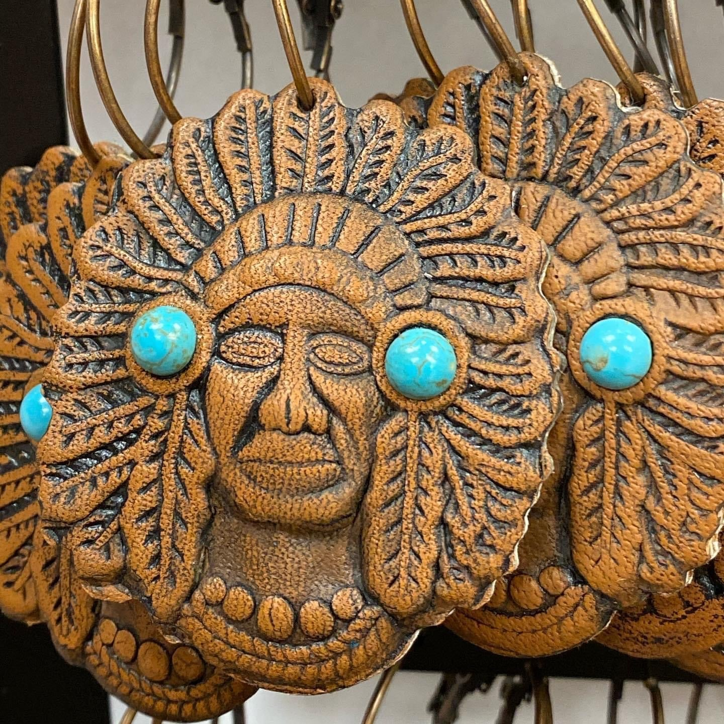 Indian Head Leather Earrings