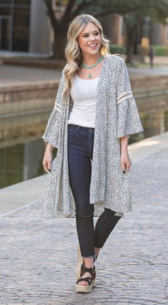Let's Stay Together Dalmatian Print Kimono with Lace Detail