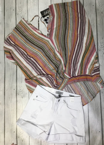 Mauve Striped Top w/ Adorable Back Tie