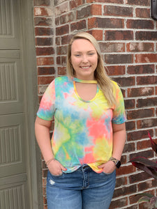 Tie Dye Cut Out Neck Top