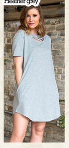 Crisscross Heather Grey Dress