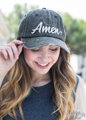 White Amen Embroidery on Charcoal Hat
