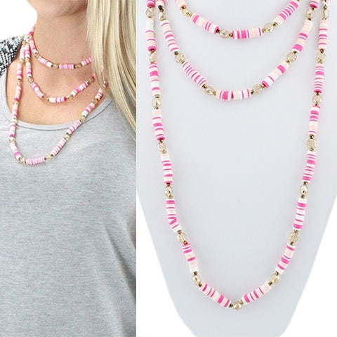 Fuschia Beaded Necklace