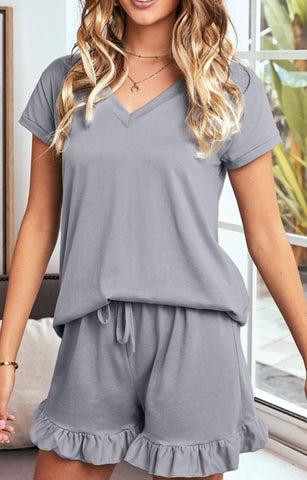 Super Soft T-shirt Ruffle Shorts Pajamas Set
