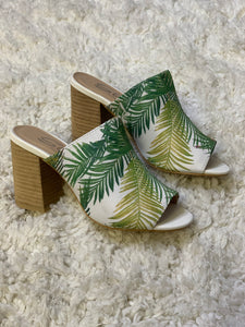 SALE Palm Print Mule with Heel