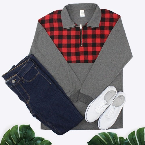 Buffalo Plaid Zip Up Top