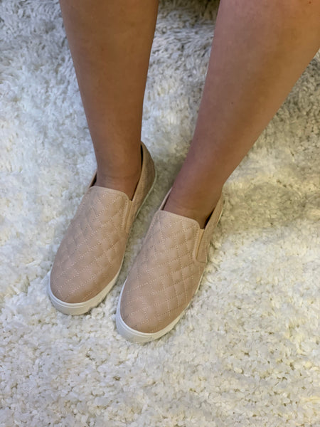 Blush Quilted Slip-On Shoes