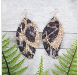 Feathered Leopard Earrings