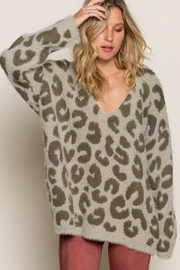 Olive Mohair Leopard Sweater
