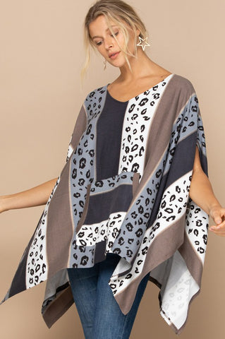Stripe and Leopard Printed Knit Poncho