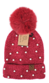 Women's Pom Pom & Pearls Knit Winter Hat