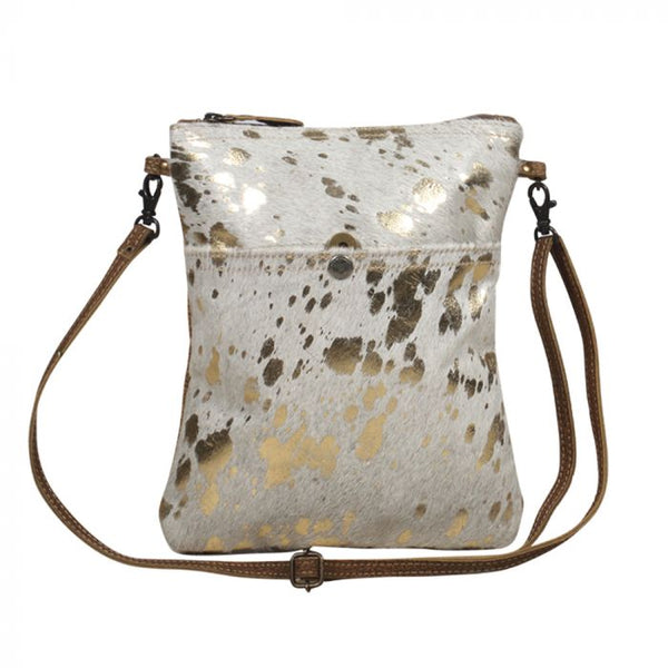 Gold Speckled Leather Crossbody Bag