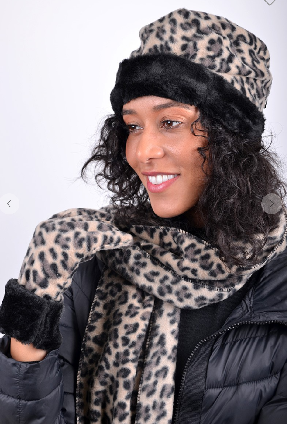 Women Fleece Leopard Print Fur Trim Winter Set