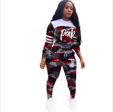 Load image into Gallery viewer, Pink Letter Print Tracksuits Women Two Piece Set Spring Street t-shirt Tops - chianostore