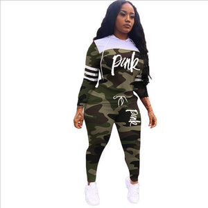Pink Letter Print Tracksuits Women Two Piece Set Spring Street t-shirt Tops - chianostore
