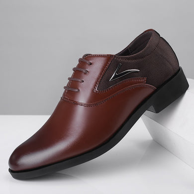 Classic Man Pointed Toe Dress Shoes  Pu Leather Black Wedding Shoes Male - chianostore