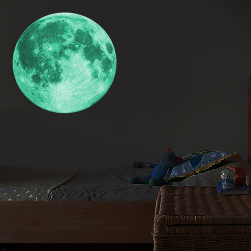 Wall Moon Sticker 3d Room Luminous 30cm Glow Dark Kids Bedroom Home Fluorescent Living Decor Decal Decoration Large Removable Diy - chianostore