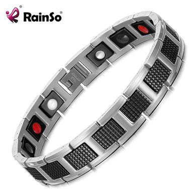 Bracelet Magnetic Men Health Steel Healing Woman 316l Stainless 3 Care Rainso Arthritis Therapy Magnet Pure Fir Charm Bio Energy - chianostore