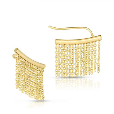 Gold fringe climbers earrings - Battisti Jewelers