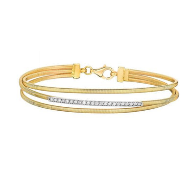 Gold wire bracelet from Battisti Jewelers - 3 row wired textured bracelet
