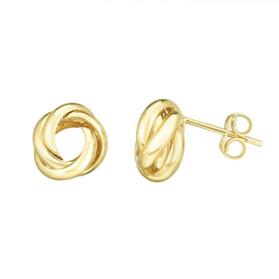 Gold Studs - 14K Gold Love Knot Earrings - Battisti Jewelers