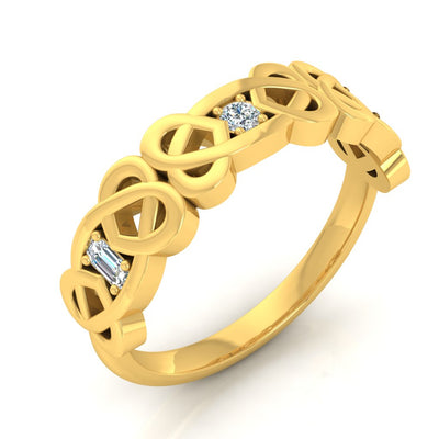 Gold and Diamond Wedding Band - Kelly Celtic Band - Battisti Jewelers