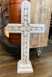 """Rock On"" Handcrafted Wooden Cross"