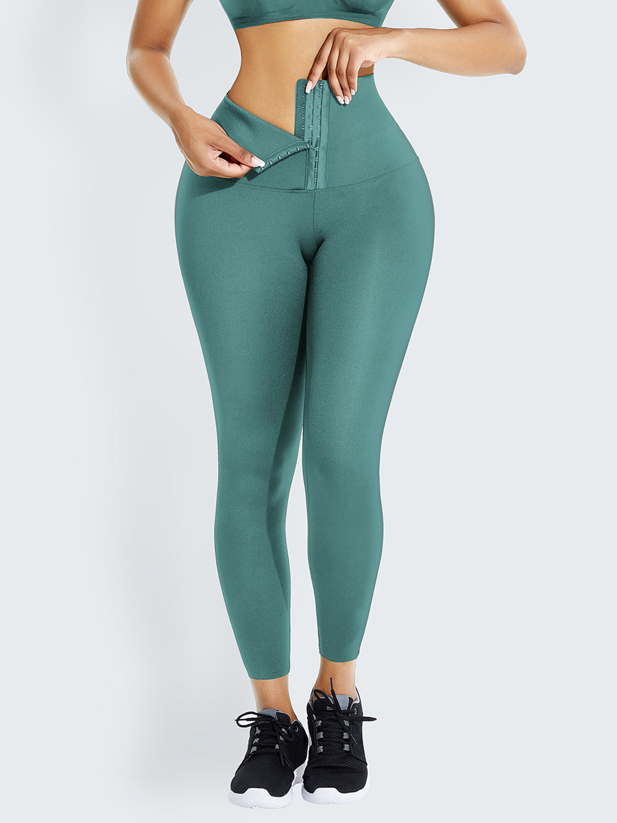 Light Green Waist Trainer 2-In-1 High Waist Legging