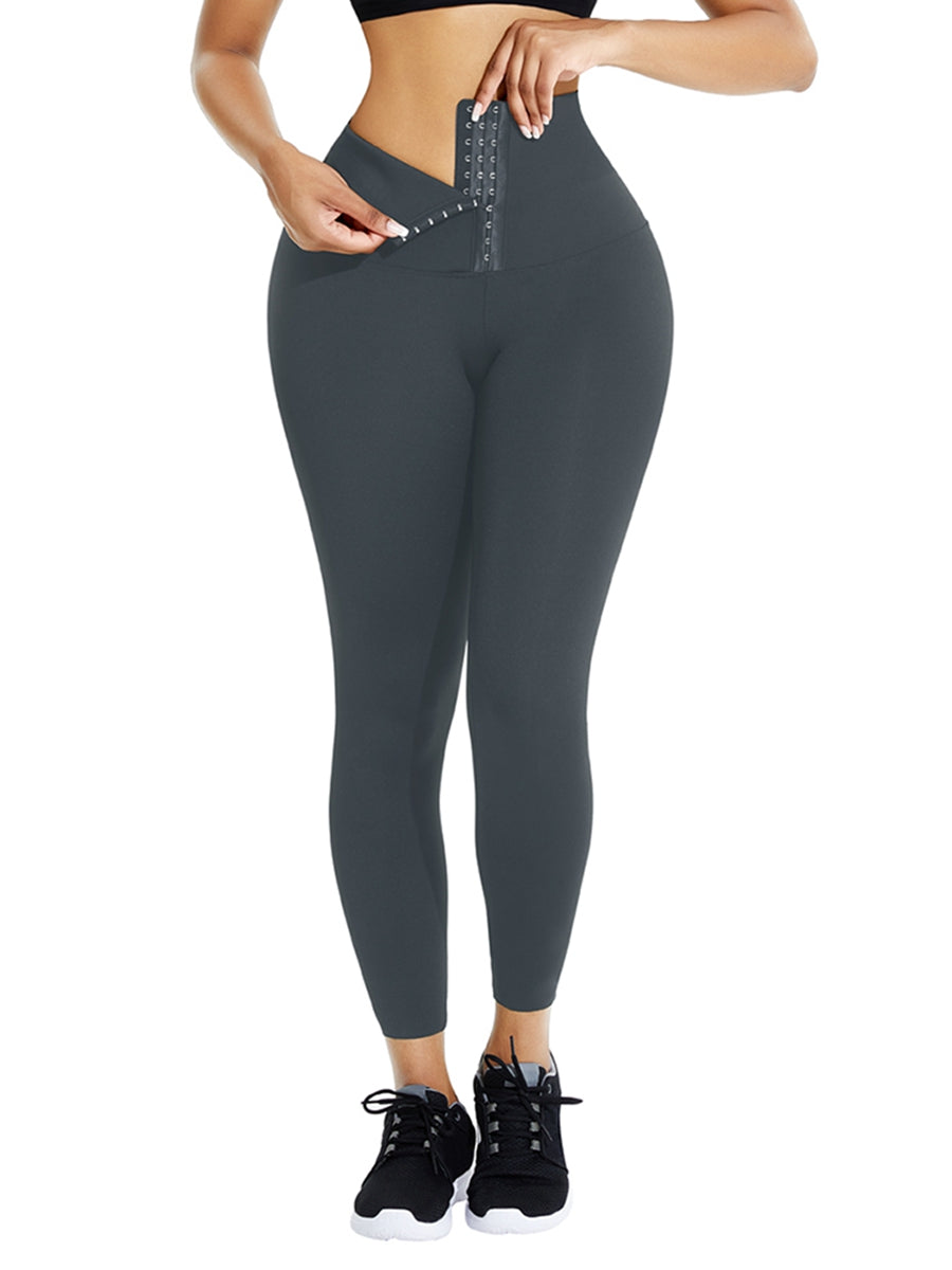 Gray Waist Trainer Leggings With Hooks Compression Silhouette
