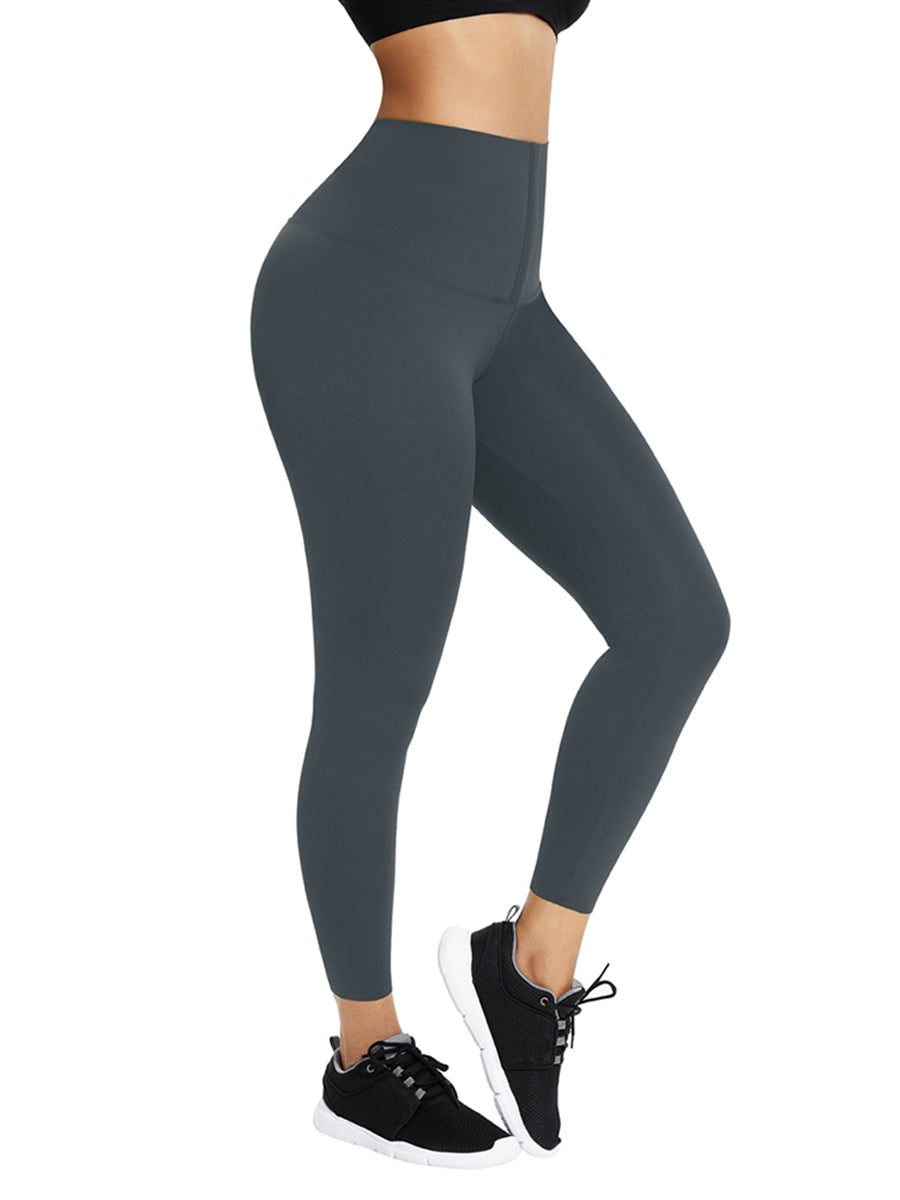 Blue Waist Trainer Leggings With Hooks Compression Silhouette