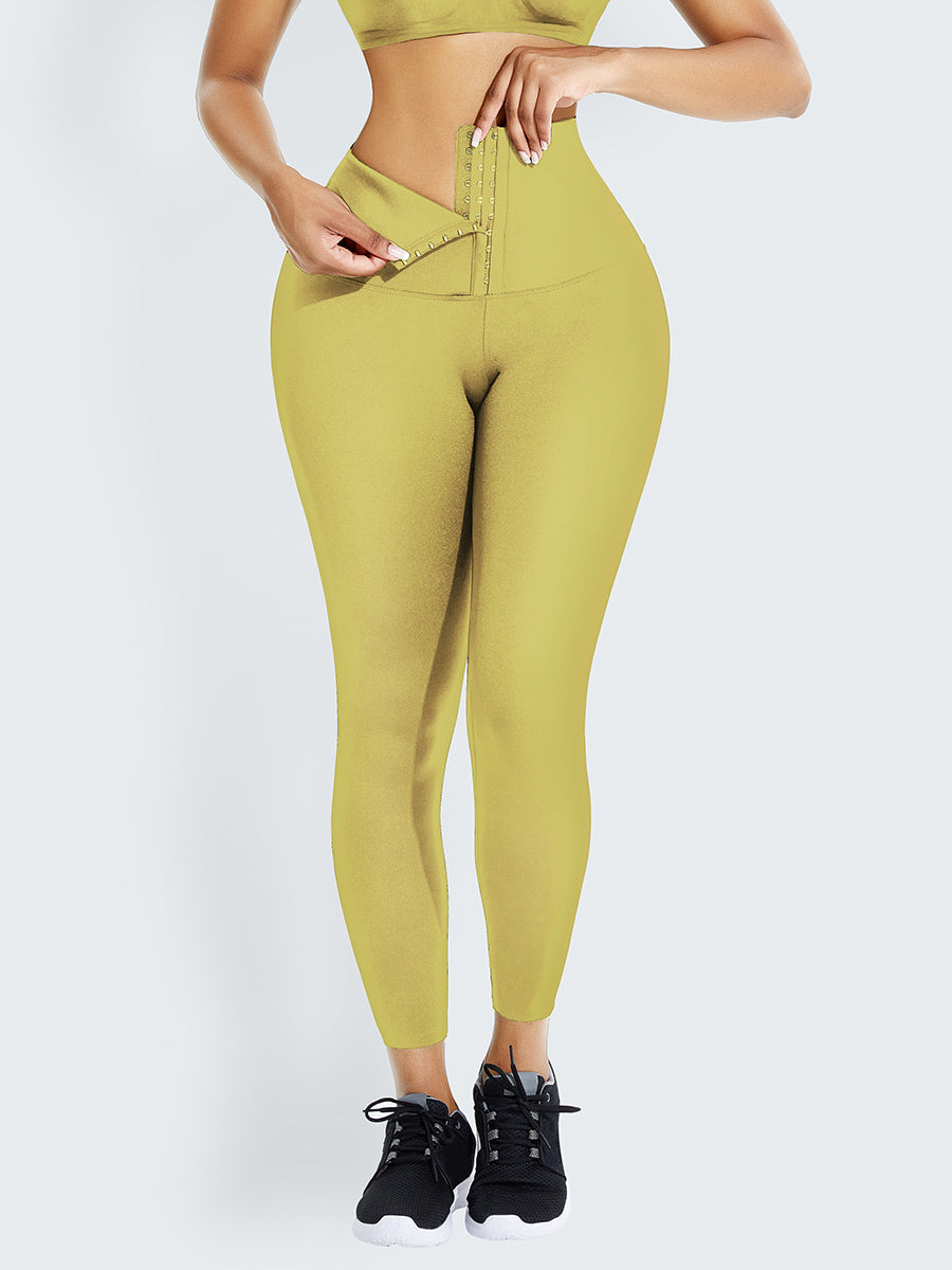 Yellow Tummy Control Shape Leggings High Waist Weight Loss