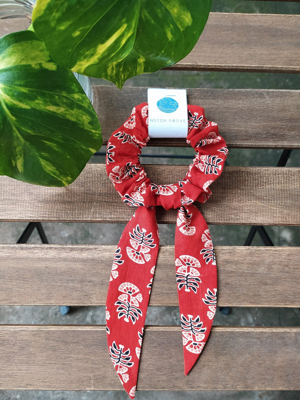 Printed Bunny Tail Scrunchie