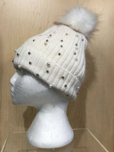 Winter Hat w/ Pearls and Pom Pom by Picabo
