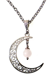 Moon & Frosted Rose Quartz Necklace by BEL
