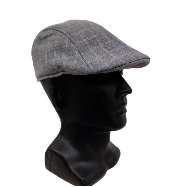 Men's Hat Driver Checked Charcoal