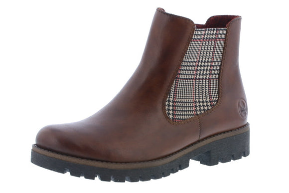Chelsea Boot- Burgundy/Plaid by Rieker