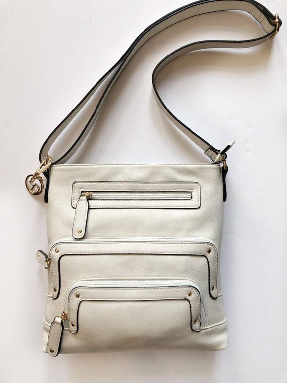 Crossbody and Large Pockets Bag (White Marble) by La Diva
