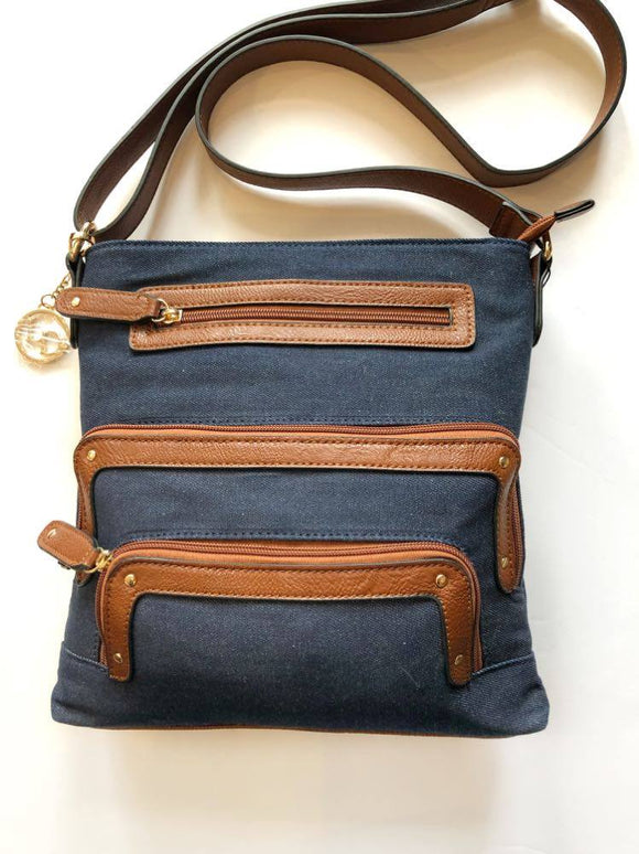 Crossbody and Large Pockets Bag (Denim) by La Diva